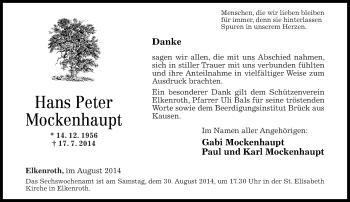 Zur Gedenkseite von Hans Peter