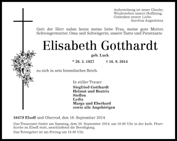 Zur Gedenkseite von Elisabeth Gotthardt