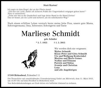 Zur Gedenkseite von Marliese