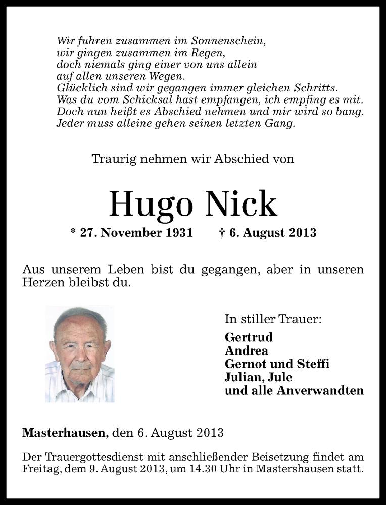 Traueranzeigen Von Hugo Nick Rz Trauer De