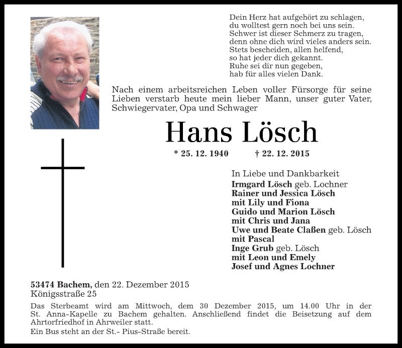 Der SV Bachem trauert um seinen Ehrenvorsitzenden Hans Lösch 1073c123-b4a5-4fb1-8d16-11c8ed2bdf55