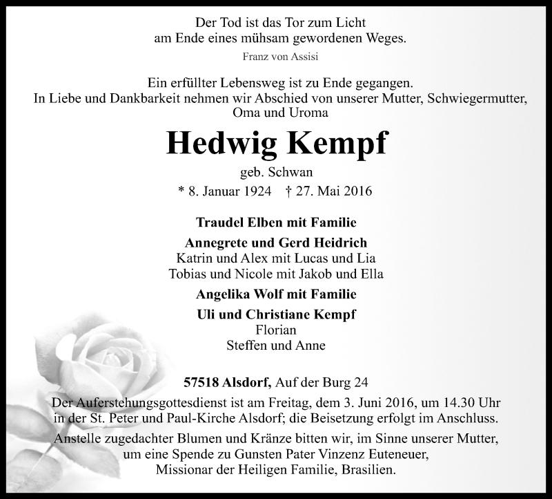 Traueranzeigen Von Hedwig Kempf Rz Trauer De